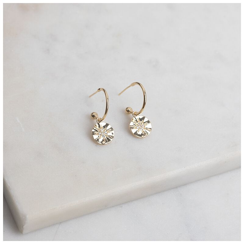 Star Disc-Drop Earrings -  gold