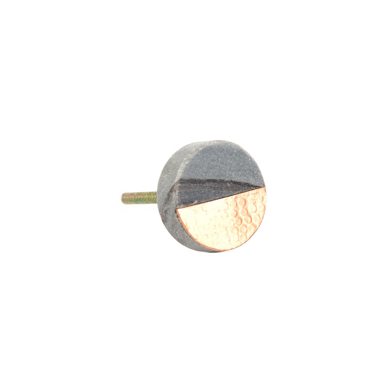 Grey Stone & Hammered Copper Round Knob -  grey-gold