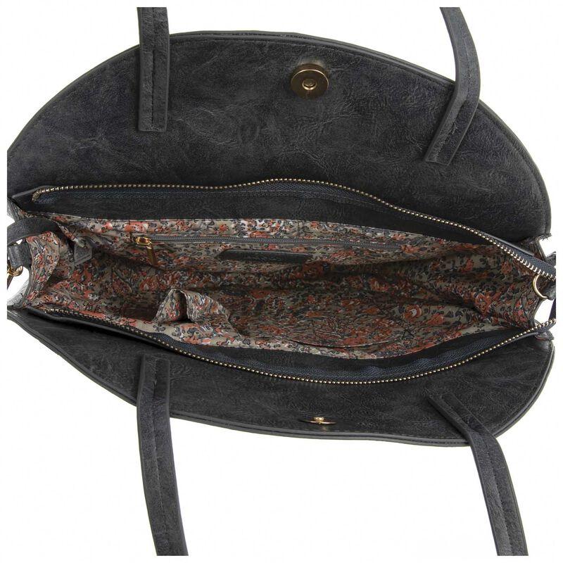 Angelina Vegan Leather Round Bag -  navy