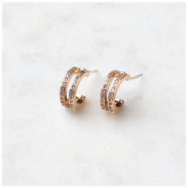 Pave Mini Huggie Hoop Earrings -  gold