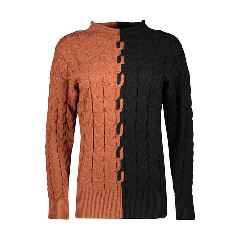Siri Colourblock Pull Over -  rust