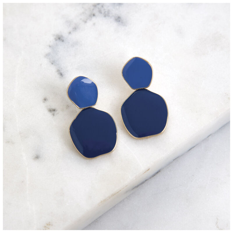 Unique Disk Epoxy Earrings -  navy-gold
