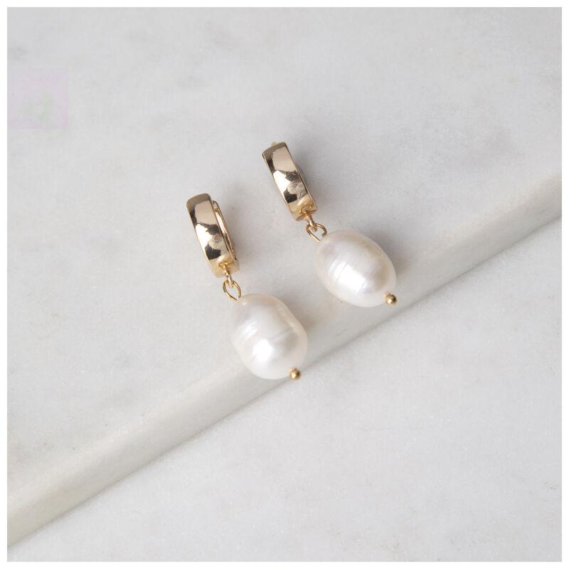 Freshwater Pearl Drop Earrings -  milk-gold
