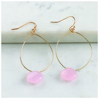 Teardrop & Stone Drop Earrings -  gold-pink