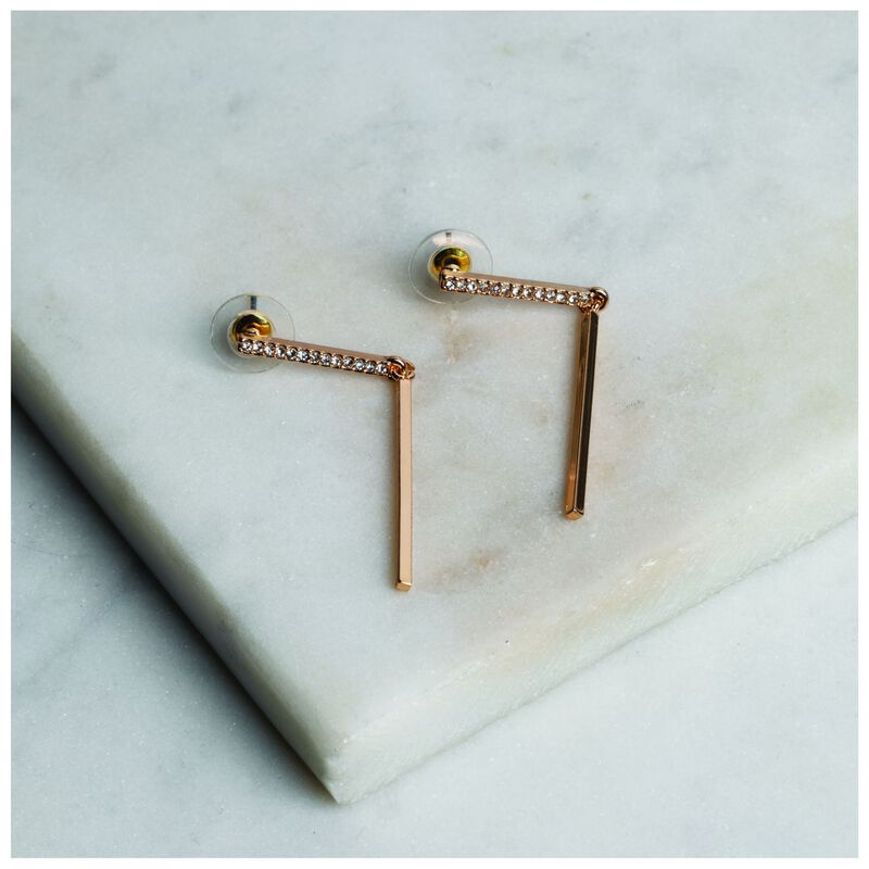 Pave Bar Drop Earrings -  gold