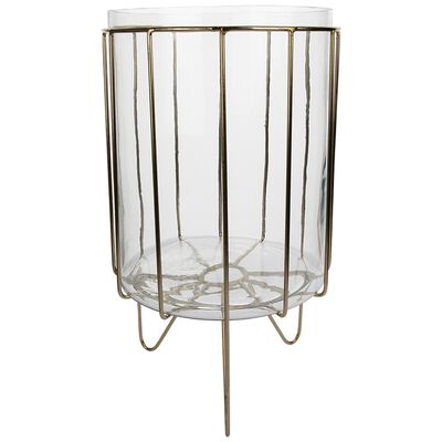 Large Glass Planter with Metal Stand