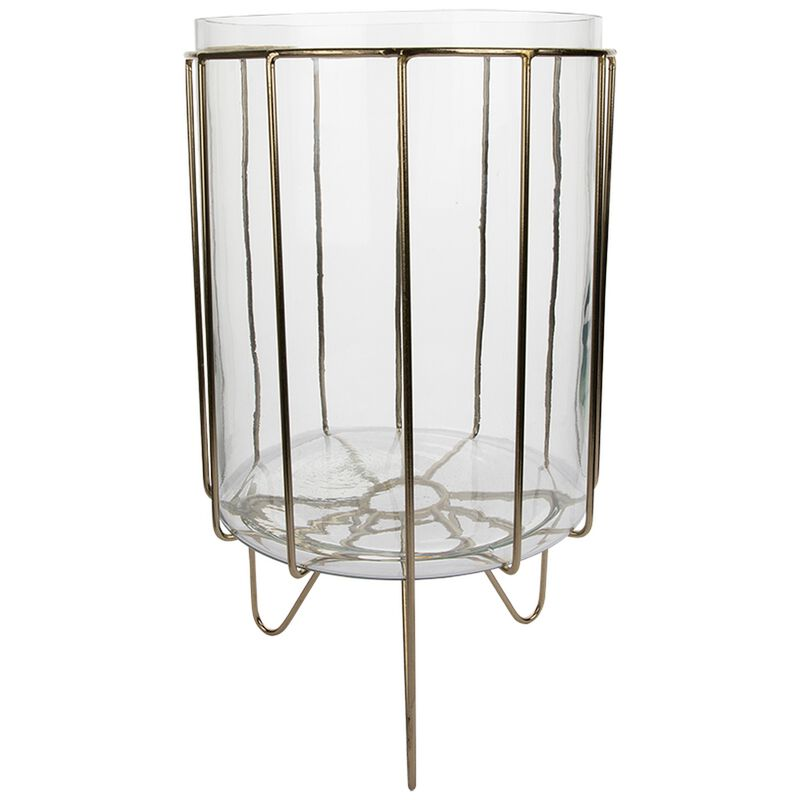 Large Glass Planter with Metal Stand -  gold