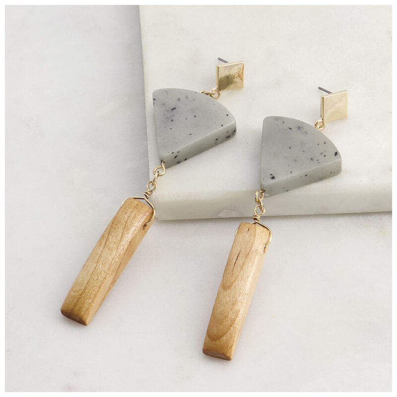 Geometric Stone & Wood Drop Earrings -  grey-gold