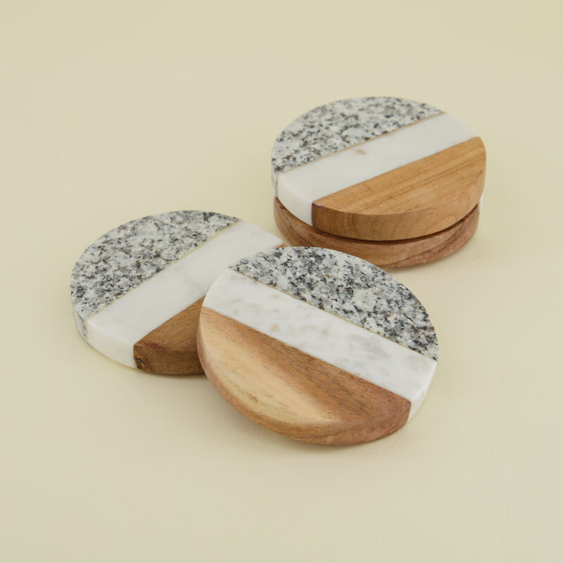 Wood & Marble Speckled Coaster Set -  white-brown