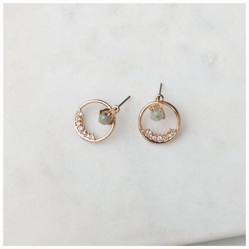 Circle & Stone Peek-a-Boo Stud Earrings -  gold-green