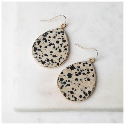 Dalmation Stone Teardrop Earrings