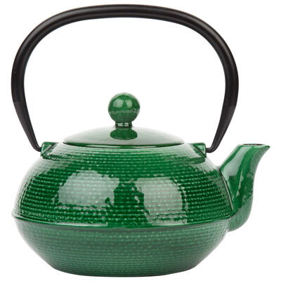 Green Enamel Cast Iron Teapot