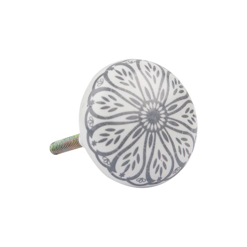Grey Daisy Knob -  white-silver