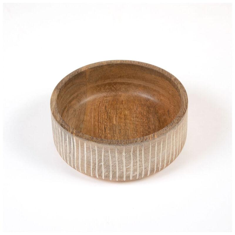 Small White-Washed Mango Wood Bowl -  driftwood-white