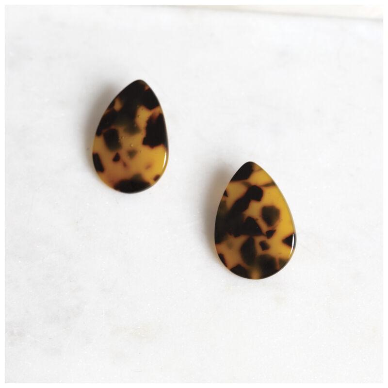 Resin Teardrop Stud Earrings -  brown