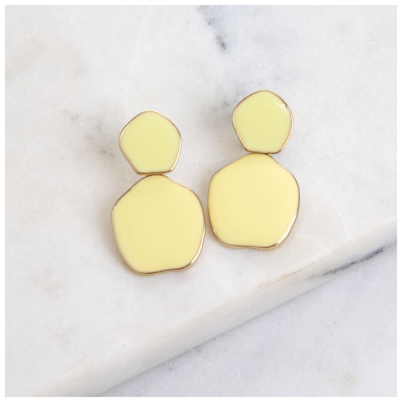 Unique Disk Epoxy Earrings -  yellow