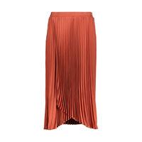 Brett Pleated Wrap Skirt -  rust
