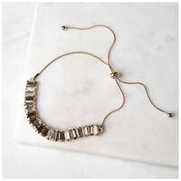 Adjustable Pearl & Gem Bracelet Set -  brown-gold