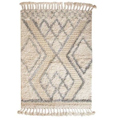 Milk and Grey Diamond Design Wool Rug