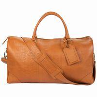 Embossed Leather Weekender Bag -  tan