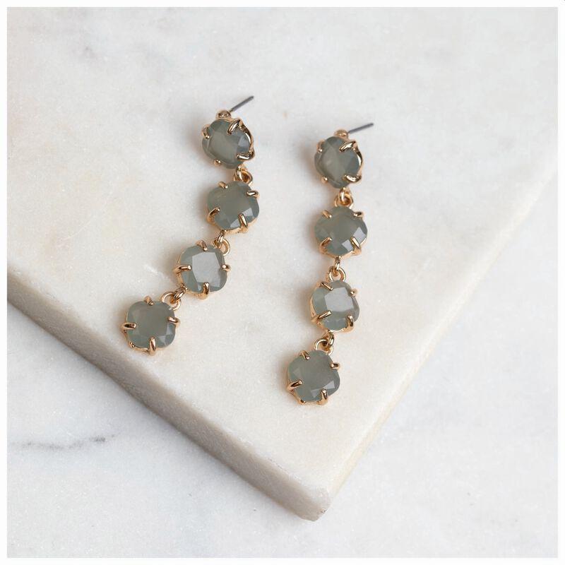 Four-Gem Drop Earrings -  gold-sage