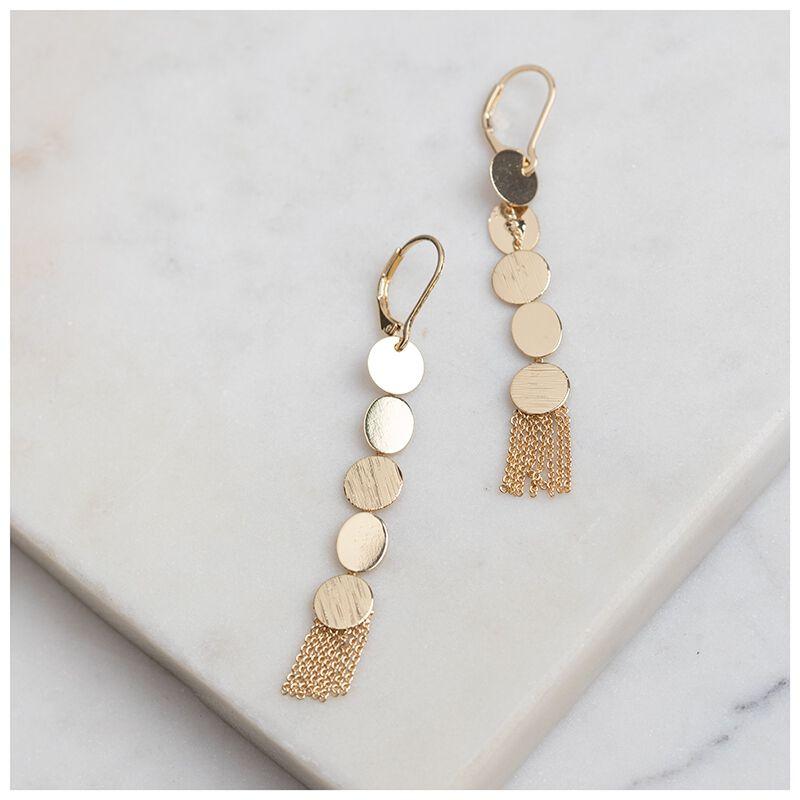Delicate Disc-Drop Earrings -  gold