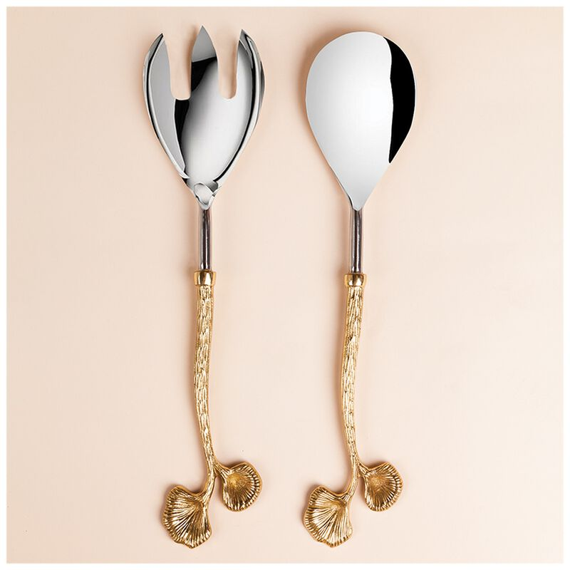 Bloom Salad Server Set -  gold