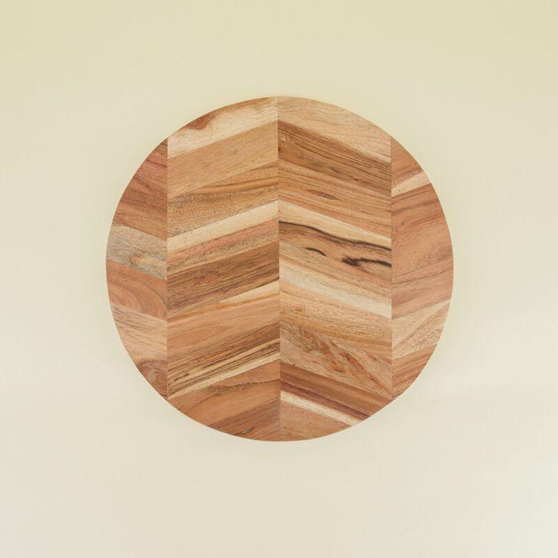 Round Herringbone Wood Board -  brown