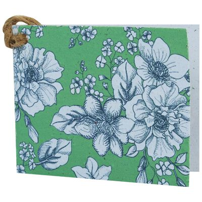 Growing Paper Green Floral Tag