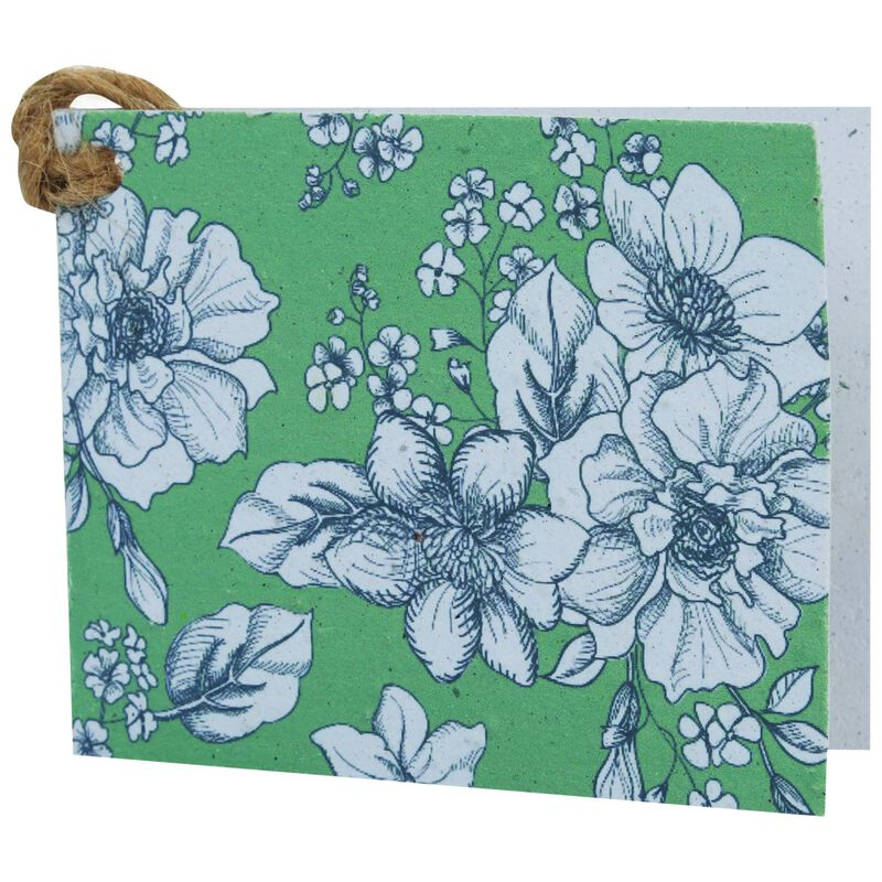 Growing Paper Green Floral Tag -  assorted