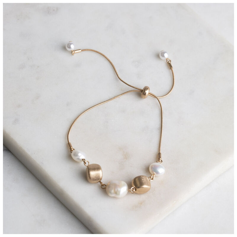 Adjustable Pearl & Bead Bracelet -  gold-cream