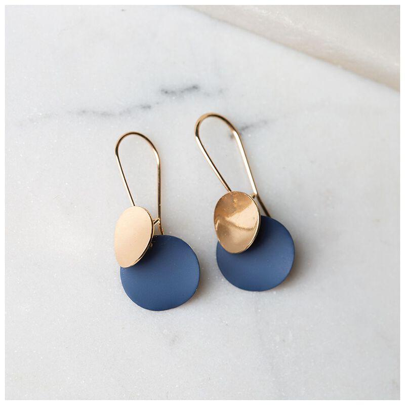Disc Drop Earrings -  navy