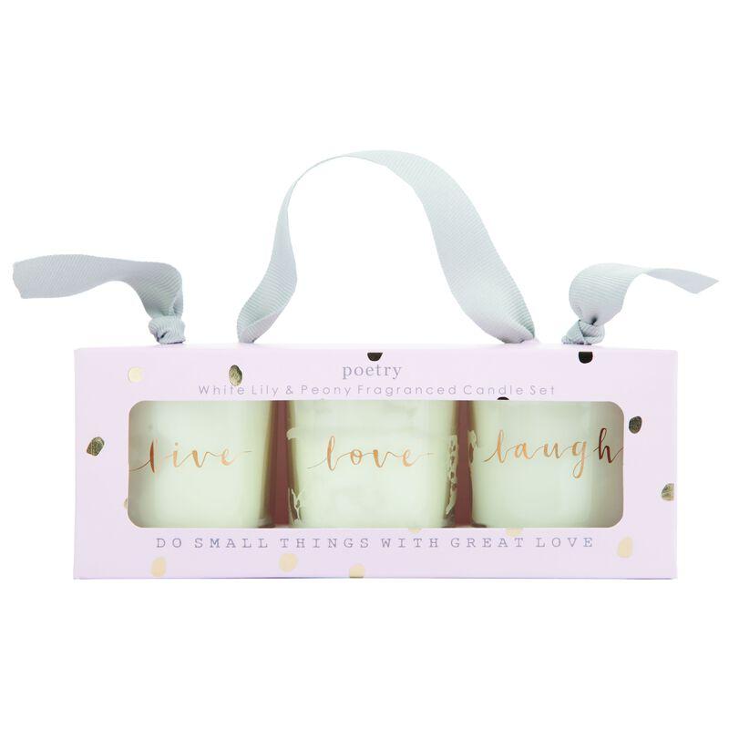 Love Votive Candle Set -  lightpink-gold