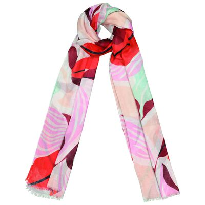 Zahra Abstract Contrast Leaf Print Scarf