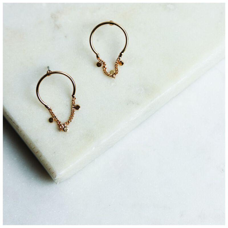 Mini Half Hoop Disk & Chain Drop Earrings -  gold