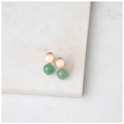 Oval Disk & Stone Double Drop Earrings