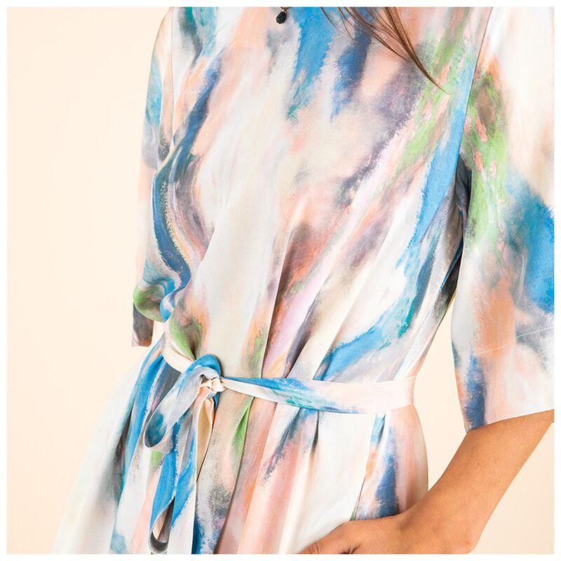 Dee Brushstroke Dress -  blue
