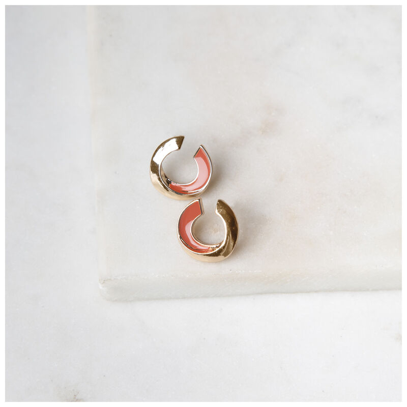 Twist Stud Earrings -  gold-coral