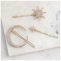 Laluna 3-Pack Moon & Star Clips -  gold