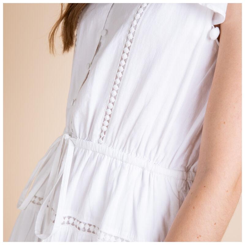 Brooke Pom Pom Dress -  white