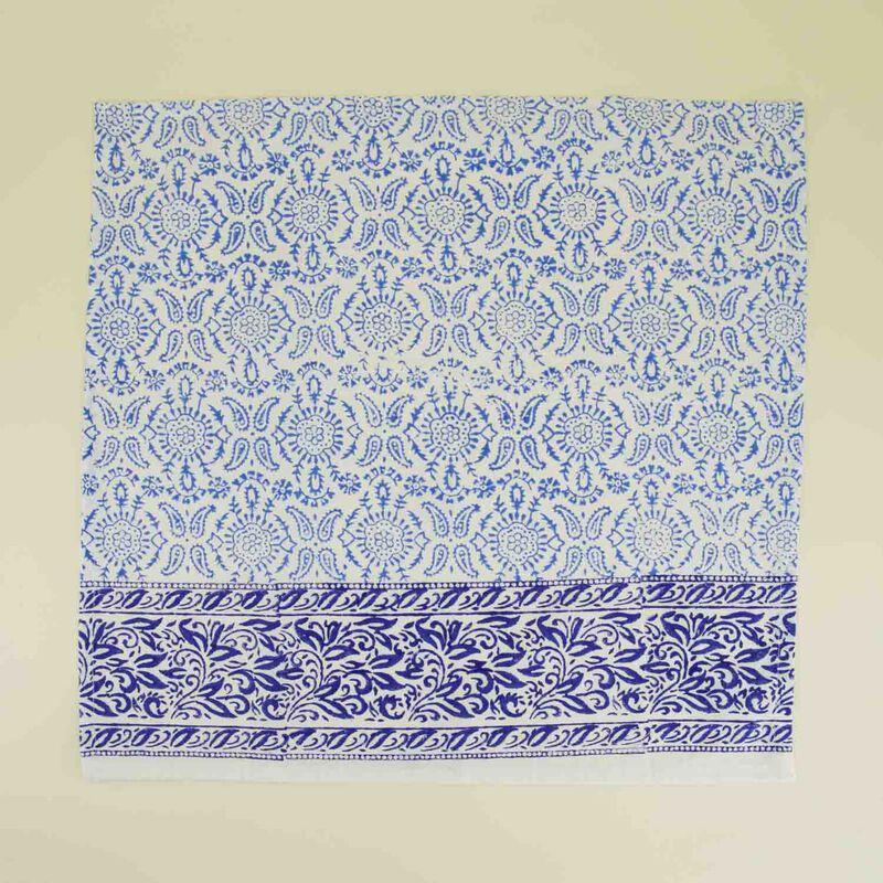 Blues Blockprinted Napkin Set -  blue-white