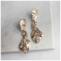 Statement Coral Reef Drop Earrings -  gold