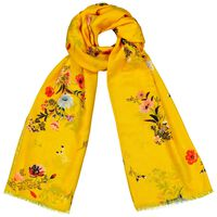 Ella Scattered Floral Scarf -  yellow-red