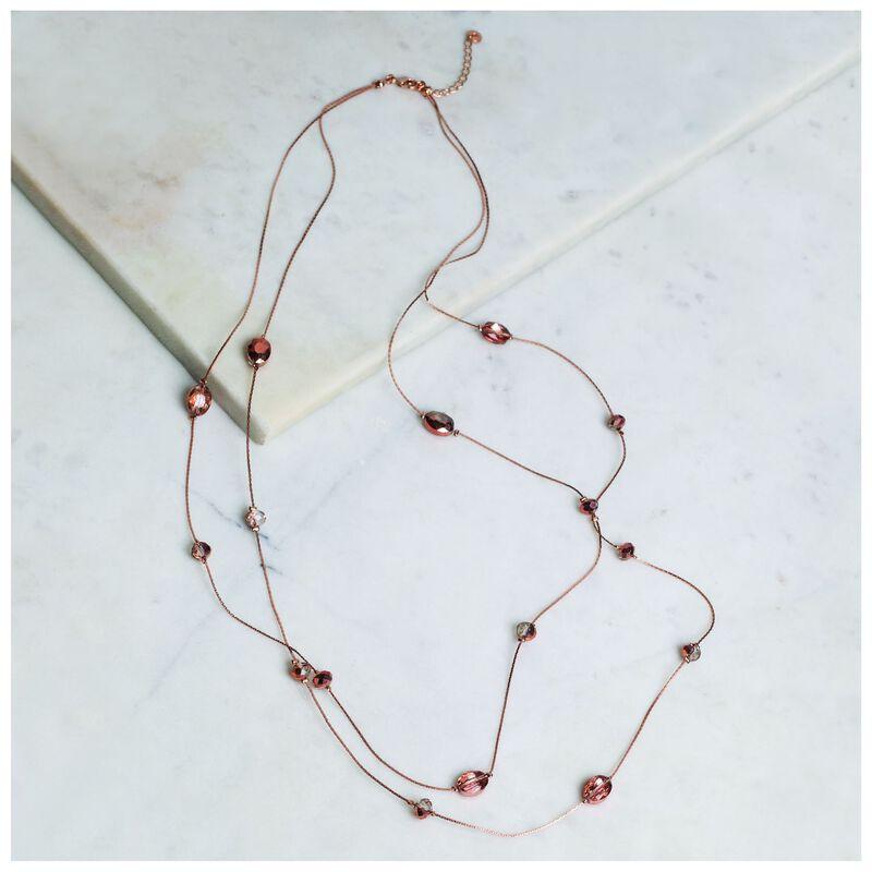 Metallic Beaded Satellite Necklace -  gold-burgundy