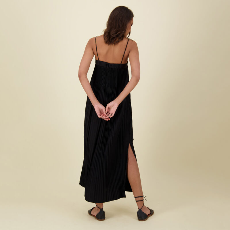Marin Pleat Dress -  black