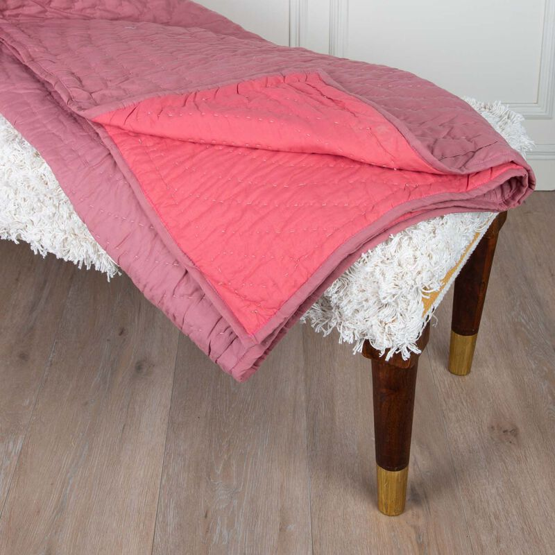 Guava Two-Toned Quilted Throw -  pink