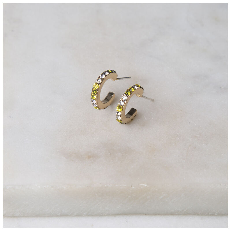 Pave Mini Hoop Earrings -  gold-green