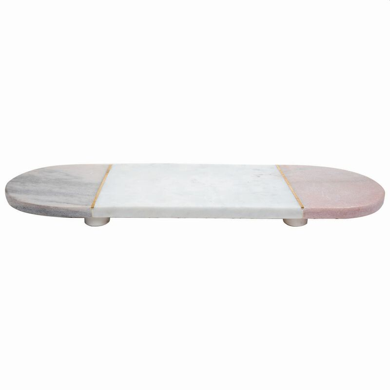 Pink and White Marble and Brass Pill-Shaped Board -  pink-white