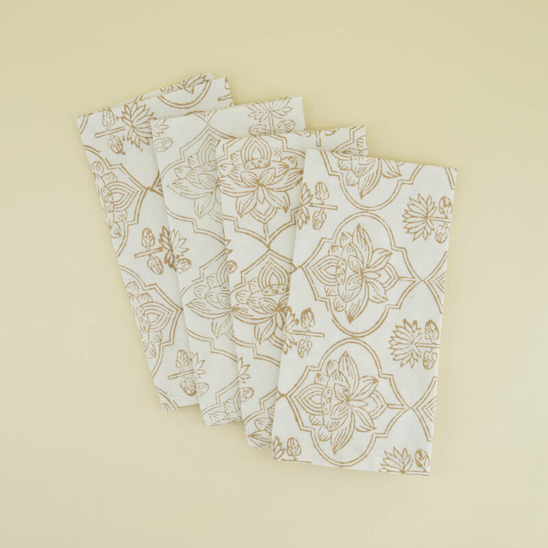 Gold Blockprint Napkin Set -  gold-white