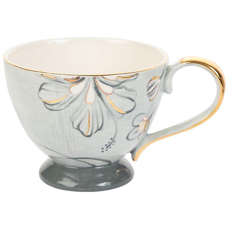 Kapula Grey & Gold Floral Mug -  grey-gold